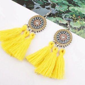 Jewelry - Boho tassel fringe earrings yellow NEW